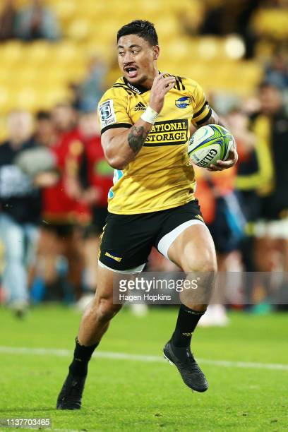 Ben Lam of the Hurricanes in action during the round six Super Rugby match between the Hurricanes and the Stormers at Westpac Stadium on March 23...