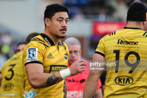 Ben Lam of the Hurricanes reacts during the Super Rugby match between Cell C Sharks and Hurricanes at Jonsson Kings Park Stadium June 01 2019 in...