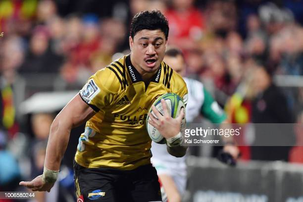 Ben Lam of the Hurricanes runs through to score a try during the Super Rugby Semi Final match between the Crusaders and the Hurricanes at AMI Stadium...
