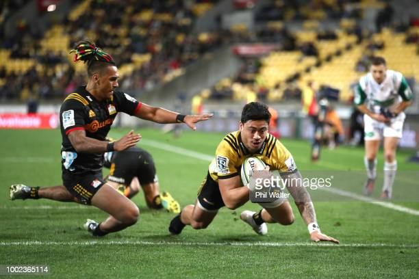 Ben Lam of the Hurricanes scores a try during the Super Rugby Qualifying Final match between the Hurricanes and the Chiefs at Westpac Stadium on July...