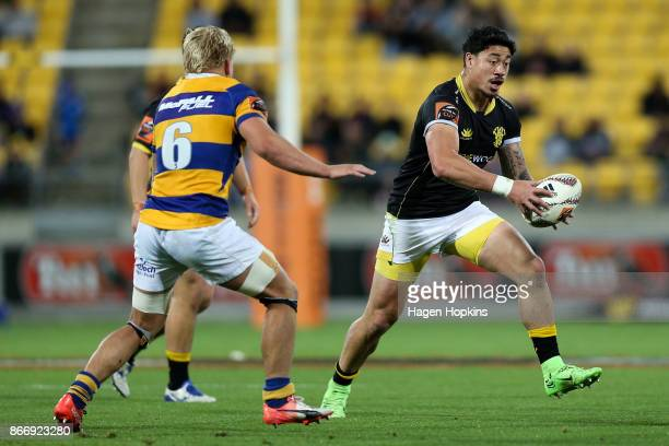 Ben Lam of Wellington attempts to evade Mitchell Karpik of Bay of Plenty during the Mitre 10 Cup Championship Final match between Wellington and Bay...