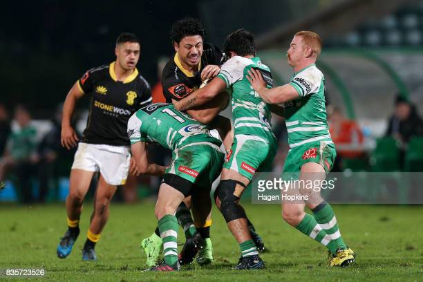 Ben Lam of Wellington is tackled during the round one Mitre 10 Cup match between Manawatu and Wellington at Central Energy Trust Arena on August 20...