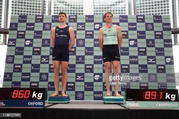 Ben Landis of Oxford University Boat Club and James Cracknell of Cambridge University Boat Club weigh in during The Boat Race Crew Announcement 2019...