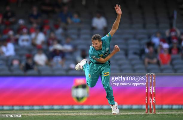 Ben Laughlin of Heat bowls during the Big Bash League match between the Melbourne Renegades and the Brisbane Heat at Marvel Stadium, on January 23 in...