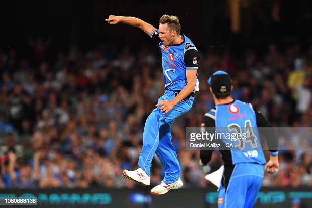 Ben Laughlin of the Adelaide Strikers celebrates after bowling out Evan Gulbis of the Melbourne Stars during the Big Bash league match between the...