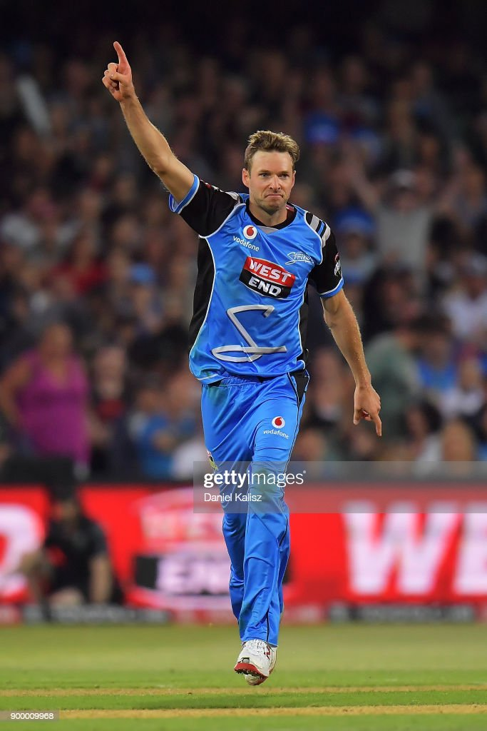 Ben Laughlin of the Adelaide Strikers celebrates after taking a wicket during the Big Bash League match between the Adelaide Strikers and the Brisbane Heat at Adelaide Oval on December 31, 2017 in Adelaide, Australia.