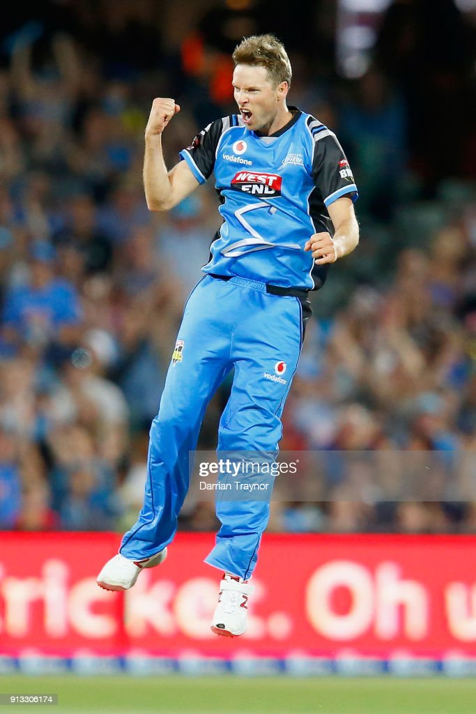 Ben Laughlin of the Adelaide Strikers celebrates the wicket of Dwayne Bravo of the Melbourne Renegades during the Big Bash League match between the Adelaide Strikers and the Melbourne Renegades at Adelaide Oval on February 2, 2018 in Adelaide, Australia.