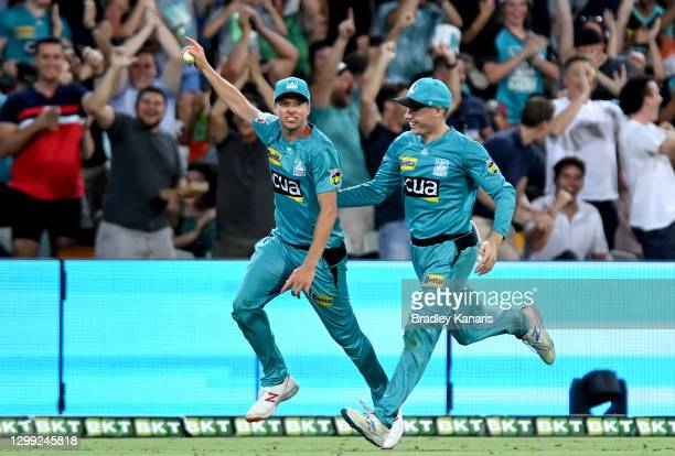 Ben Laughlin of the Heat celebrates after taking a catch to dismiss Michael Neser of the Strikers during the Big Bash League Eliminator Final match...