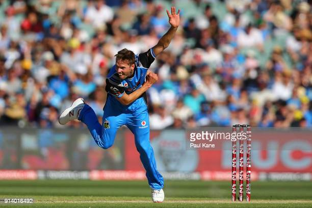 Ben Laughlin of the Strikers bowls during the Big Bash League Final match between the Adelaide Strikers and the Hobart Hurricanes at Adelaide Oval on...
