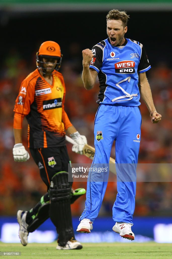 Ben Laughlin of the Strikers celebrates the wicket of Ashton Agar of the Scorchers during the Big Bash League match between the Perth Scorchers and the Adelaide Strikers at WACA on January 25, 2018 in Perth, Australia.