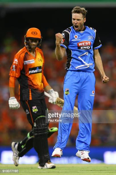 Ben Laughlin of the Strikers celebrates the wicket of Ashton Agar of the Scorchers during the Big Bash League match between the Perth Scorchers and...