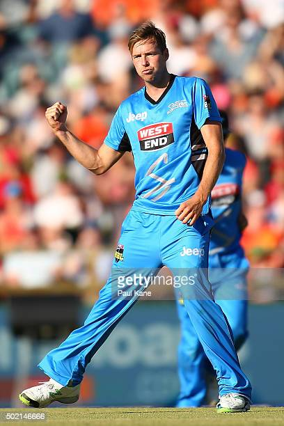 Ben Laughlin of the Strikers celebrates the wicket of Cameron Bancroft of the Scorchers during the Big Bash League match between Perth Scorchers and...