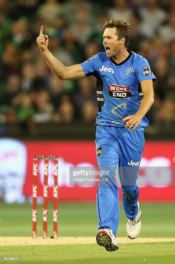 Ben Laughlin of the Strikers celebrates the wicket of Evan Gulbis of the Stars during the Big Bash League match between the Melbourne Stars and the Adelaide Strikers at Melbourne Cricket Ground on January 10, 2017 in Melbourne, Australia.