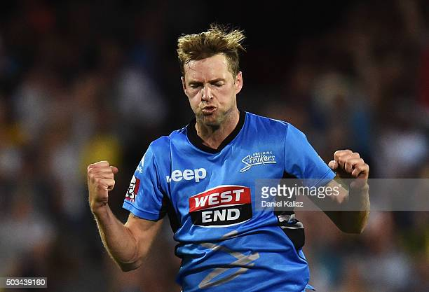 Ben Laughlin of the Strikers reacts after bowling out Joel Paris of the Scorchers during the Big Bash League match between the Adelaide Strikers and...
