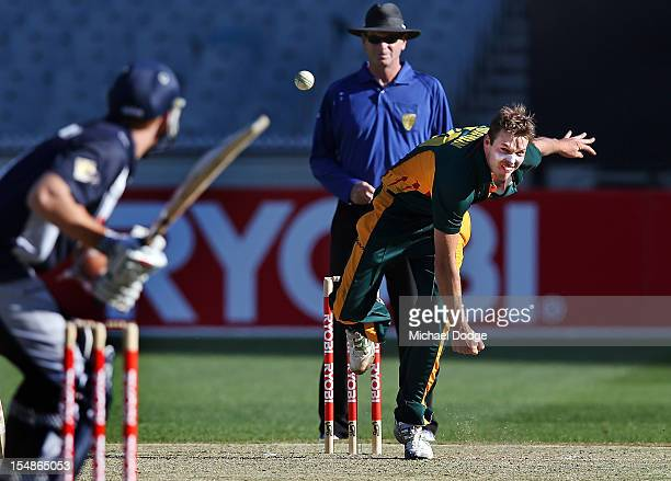 Ben Laughlin of the Tigers bowls during the Ryobi One Day Cup match between Victorian Bushrangers and the Tasmanian Tigers at Melbourne Cricket...