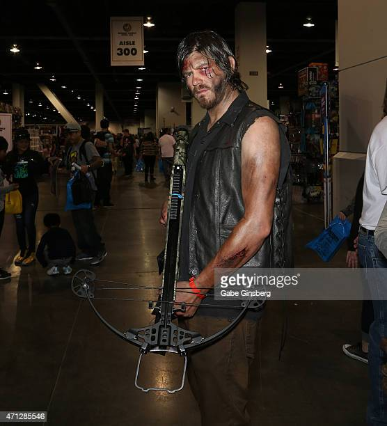 Ben Layton of Utah dressed as the character Daryl Dixon from 'The Walking Dead' television show attends Wizard World Comic Con Las Vegas at the Las...