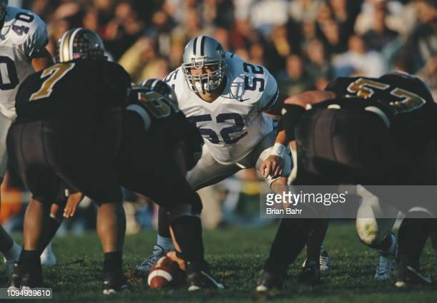 Ben Leber, Linebacker for the Kansas State Wildcats lines up against the snap during the NCAA Big-12 Conference college football game against the...