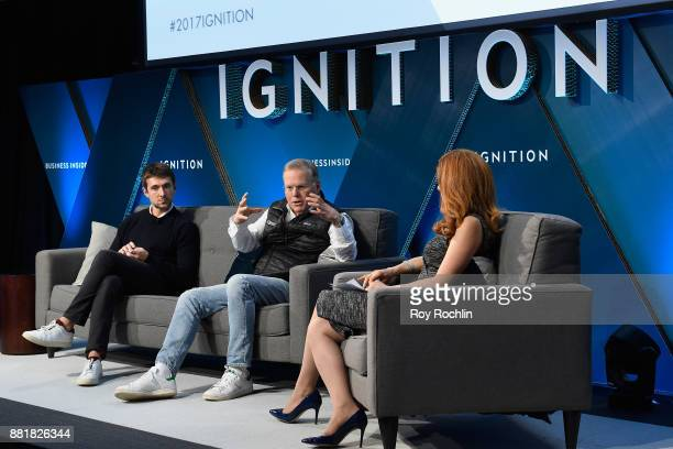 Ben Lerer founding CEO of Group Nine Media and David Zaslav President and CEO of Discovery Communications speak onstage with Julia Boorstin at...