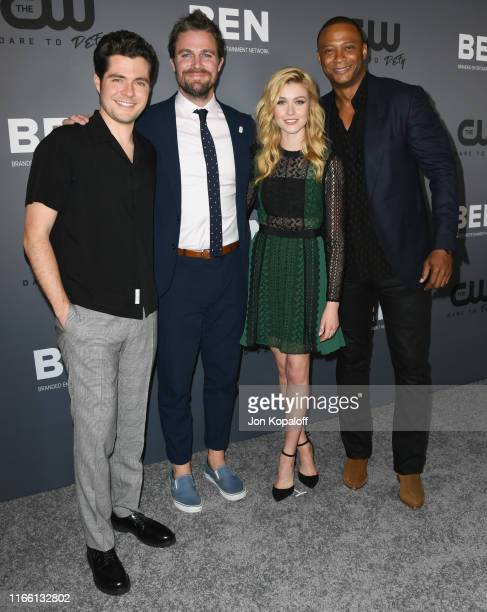 Ben Lewis Stephen Amell Katherine McNamara and David Ramsey attend the The CW's Summer 2019 TCA Party sponsored by Branded Entertainment Network at...