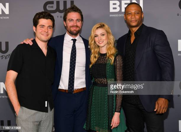 Ben Lewis Stephen Amell Katherine McNamara and David Ramsey attend The CW's Summer 2019 TCA Party sponsored by Branded Entertainment Network at The...
