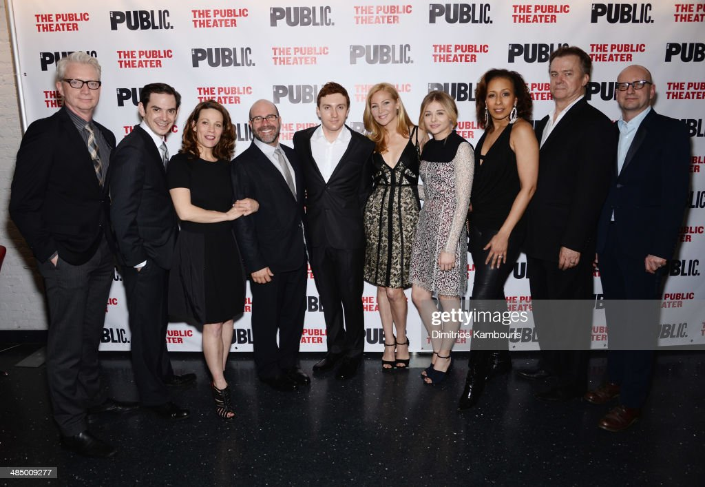 Ben Livingston, David L. Townsend, Lili Taylor, Scott Z. Burns, Daryl Sabara, Jennifer Westfeldt, Chloe Grace Moretz, Tamara Tunie, Michael O'Keefe and Steven Soderbergh attend 'The Library' opening night celebration at The Public Theater on April 15, 2014 in New York City.