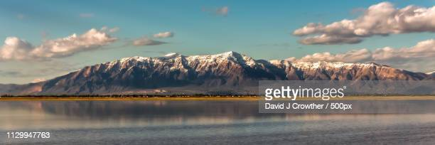 ben lomond from the causeway - great salt lake stock pictures, royalty-free photos & images