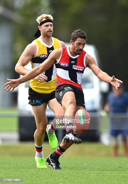 Ben Long of the Saints kicks during a St Kilda Saints AFL training session at Maroochydore Multi Sport Complex on September 25 2020 in Sunshine Coast...