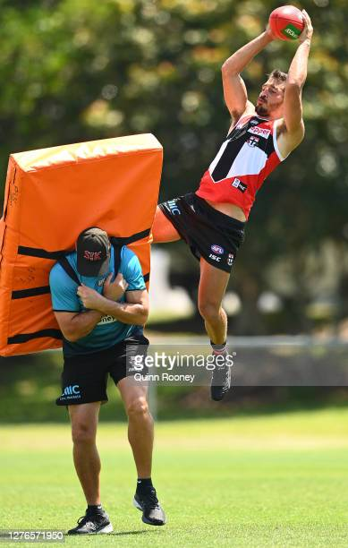 Ben Long of the Saints marks during a St Kilda Saints AFL training session at Maroochydore Multi Sport Complex on September 25 2020 in Sunshine Coast...
