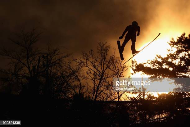 Ben Loomis of the United States competes during the Nordic Combined Team Gundersen LH/4x5km Ski Jumping Competition Round on day thirteen of the...