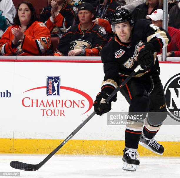 Ben Lovejoy of the Anaheim Ducks handles the puck during the game against the Montreal Canadiens on March 5 2014 at Honda Center in Anaheim California