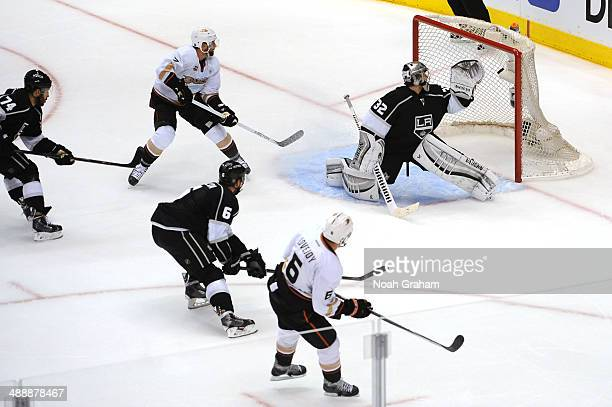 Ben Lovejoy of the Anaheim Ducks shoots and scores a goal against Jonathan Quick of the Los Angeles Kings in Game Three of the Second Round of the...