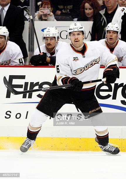 Ben Lovejoy of the Anaheim Ducks skates against the Pittsburgh Penguins during the game at Consol Energy Center on November 18, 2013 in Pittsburgh,...