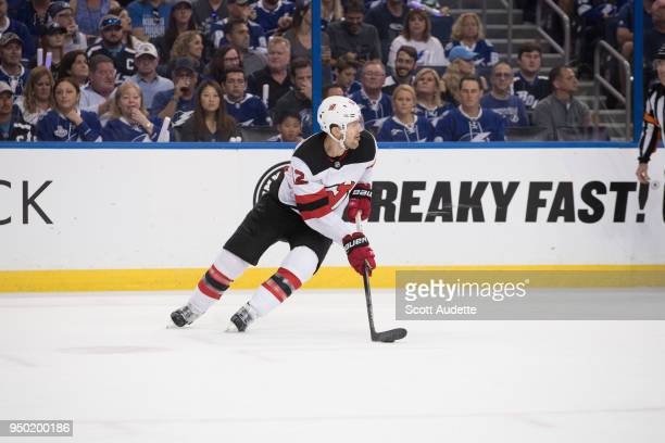 Ben Lovejoy of the New Jersey Devils in Game Five of the Eastern Conference First Round during the 2018 NHL Stanley Cup Playoffs at Amalie Arena on...