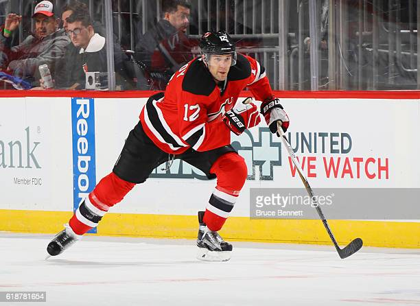 Ben Lovejoy of the New Jersey Devils skates against the Arizona Coyotes at the Prudential Center on October 25 2016 in Newark New Jersey