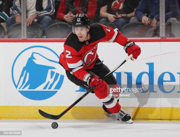 Ben Lovejoy of the New Jersey Devils skates against the San Jose Sharks at the Prudential Center on October 14 2018 in Newark New Jersey The Devils...