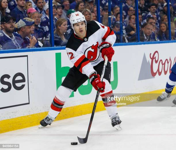 Ben Lovejoy of the New Jersey Devils skates against the Tampa Bay Lightning in Game One of the Eastern Conference First Round during the 2018 NHL...
