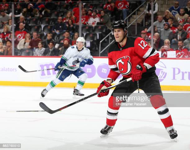 Ben Lovejoy of the New Jersey Devils skates during the third period against the Vancouver Canucks on November 24 2017 at the Prudential Center in...