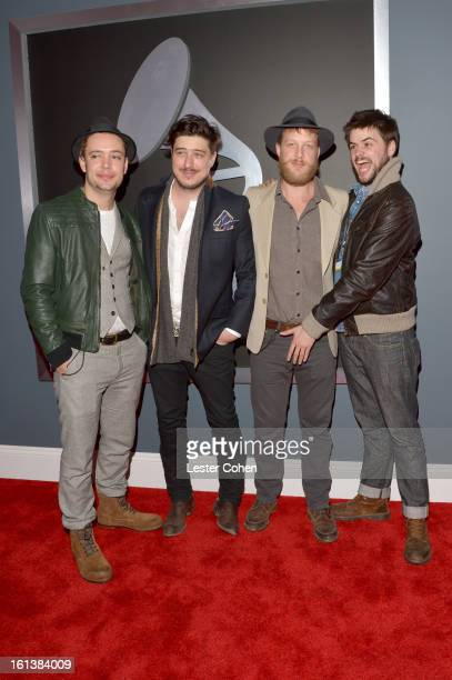 Ben Lovett Marcus Mumford 'Country' Winston Marshall and Ted Dwane of Mumford Sons arrive at the 55th Annual GRAMMY Awards at STAPLES Center on...