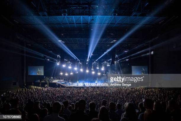 Ben Lovett Marcus Mumford Winston Marshall and Ted Dwane of Mumford Sons perform at First Direct Arena on December 01 2018 in Leeds England