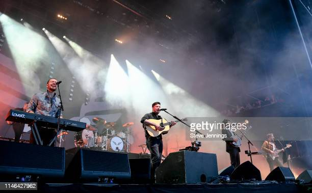Ben Lovett Marcus Mumford Winston Marshall and Ted Dwane of Mumford Sons perform on Day 3 of BottleRock Napa Valley 2019 at Napa Valley Expo on May...