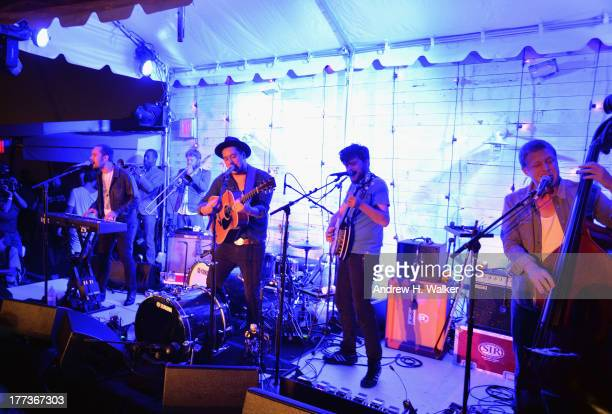 Ben Lovett Marcus Mumford Winston Marshall and Ted Dwane of Mumford and Sons perform live at Soho House New York's 10th Birthday Celebration on...