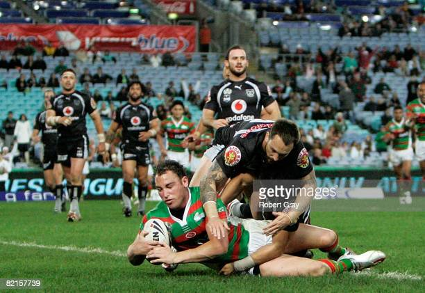 Ben Lowe of the Rabbitohs scores a try during the round 21 NRL match between the South Sydney Rabbitohs and the New Zealand Warriors held at ANZ...