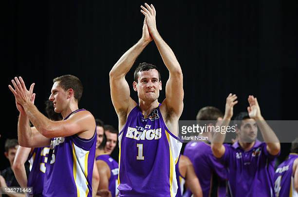 Ben Madgen of the Kings acknowledges the crowd during the round ten NBL match between the Sydney Kings and the Adelaide 36ers at Sydney Entertainment...