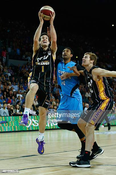 Ben Madgen of the Kings lays up the ball during the round 16 NBL match between the New Zealand Breakers and the Sydney Kings at Vector Arena on...