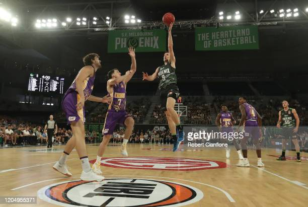 Ben Madgen of the Phoenix attempts to score during the round 19 NBL match between the South East Melbourne Phoenix and the Sydney Kings at Melbourne...