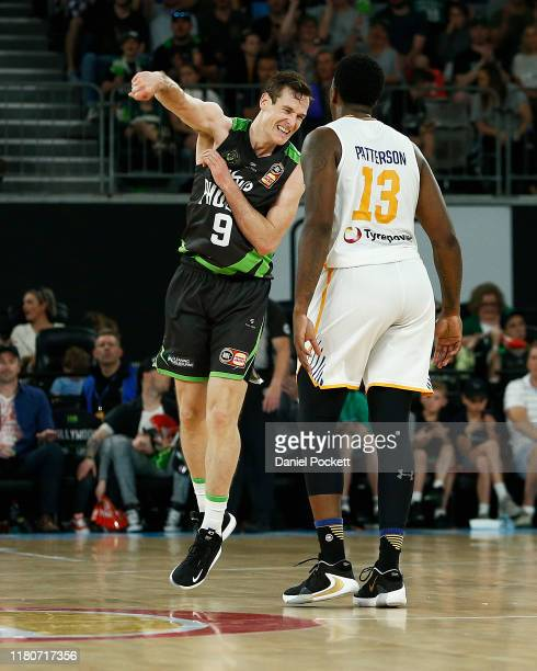 Ben Madgen of the Phoenix celebrates a three pointer during the round two NBL match between the South East Melbourne Phoenix and the Brisbane Bullets...