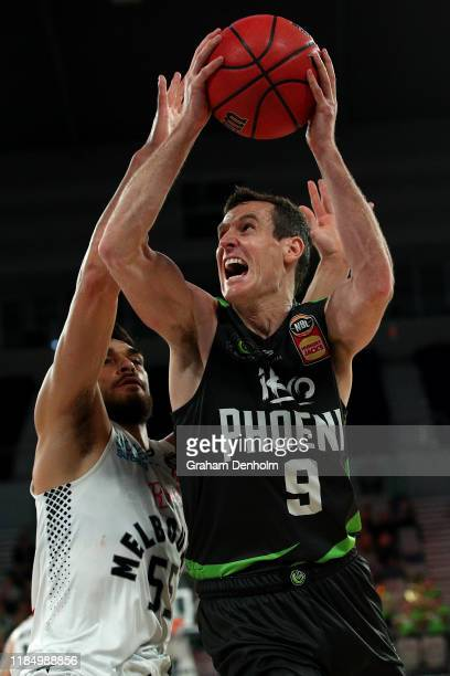 Ben Madgen of the Phoenix drives at the basket during the round five NBL match between the South East Melbourne Phoenix and Melbourne United at...