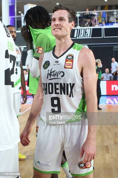 Ben Madgen of the Phoenix reacts after the win during the round nine NBL match between the Brisbane Bullets and the South East Melbourne Phoenix at...