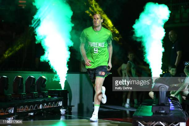 Ben Madgen of the Phoenix runs onto court during the round 13 NBL match between the South East Melbourne Phoenix and the Illawarra Hawks at Melbourne...