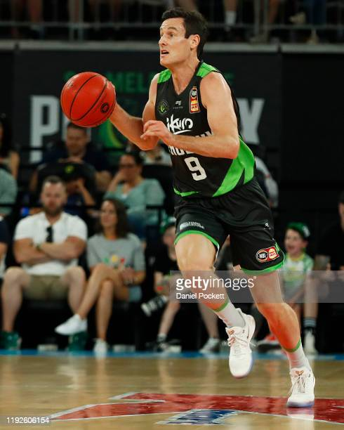 Ben Madgen of the Phoenix runs with the ball during the round 10 NBL match between the South East Melbourne Phoenix and the Perth Wildcats at...